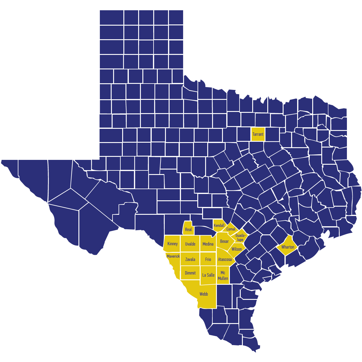 STCW represent 19 different counties in south Texas.